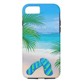 Tropical Beach with Palm Trees and Flip Flops iPhone 8/7 Case