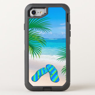 Tropical Beach with Palm Trees and Flip Flops OtterBox Defender iPhone 7 Case