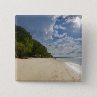 Tropical Beach With Sunrise 15 Cm Square Badge