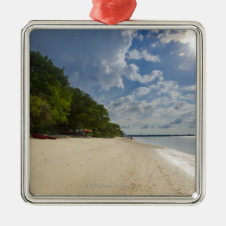 Tropical Beach With Sunrise Silver-Colored Square Decoration