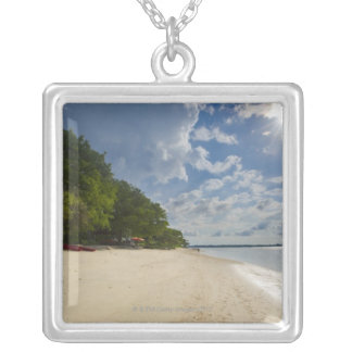 Tropical Beach With Sunrise Silver Plated Necklace