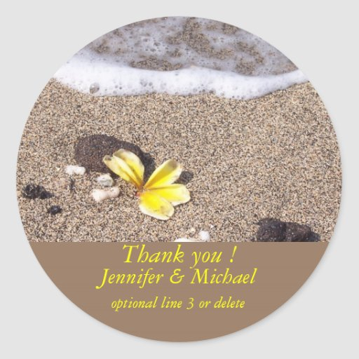 Tropical Beach Yellow Plumeria Round Sticker