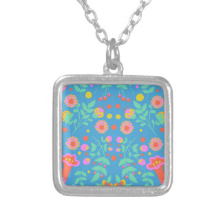 Tropical Bells Square Pendant Necklace