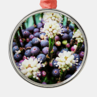 Tropical berries 3 Silver-Colored round decoration