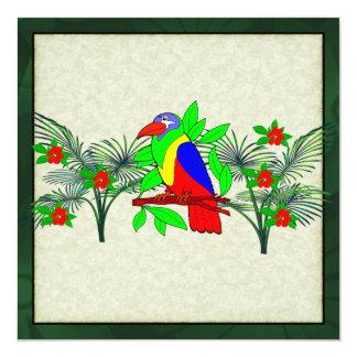 Tropical Bird and Flowers 13 Cm X 13 Cm Square Invitation Card