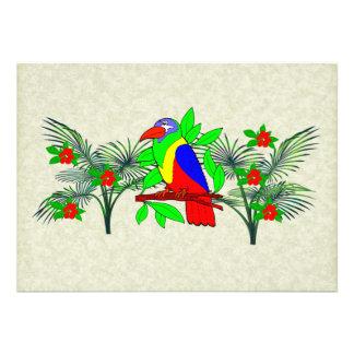 Tropical Bird and Flowers Custom Invitation