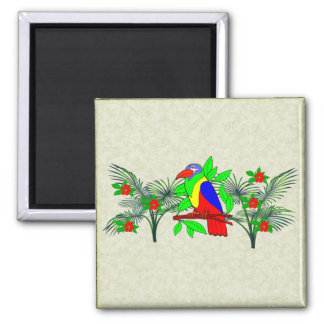 Tropical Bird and Flowers Square Magnet