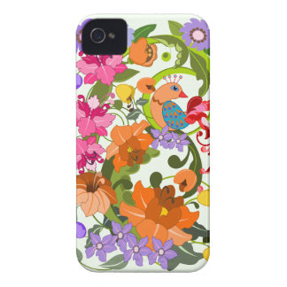 Tropical bird, colourful damask flowers & Swirls iPhone 4 Case-Mate Case