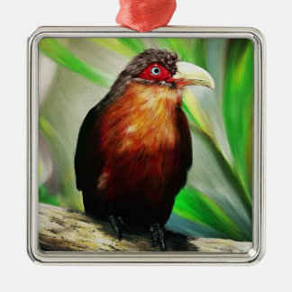 Tropical Bird cool colourful exotic painting Silver-Colored Square Decoration