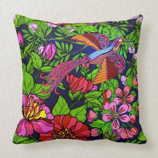 Tropical bird of paradise cushion