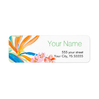 Tropical Bird of Paradise Flower Watercolor Design Return Address Label
