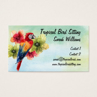 Tropical Bird Sitter Bright Colored Parrot Business Card