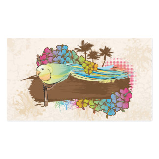 tropical bird with banner Double-Sided standard business cards (Pack of 100)