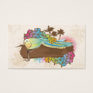 tropical bird with banner business card