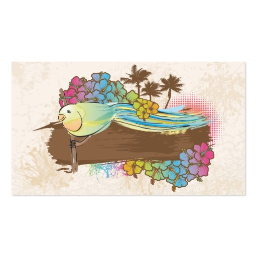 tropical bird with banner business cards