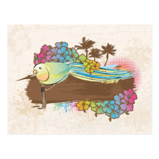 tropical bird with banner postcards