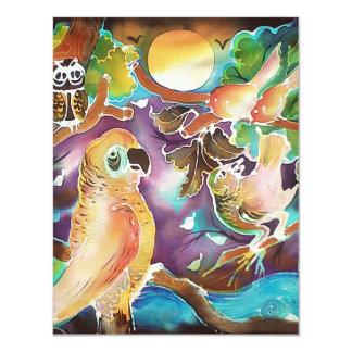 Tropical Birds at Full Moon Paradise Silk Painting Invite