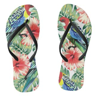 Tropical Birds, Flowers and Palm Leaves Flip Flops