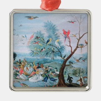 Tropical birds in a landscape christmas ornament