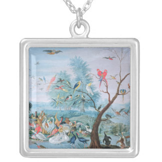 Tropical birds in a landscape silver plated necklace