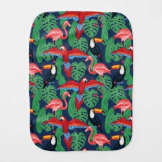 Tropical Birds In Bright Colors Baby Burp Cloth