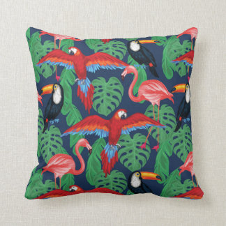 Tropical Birds In Bright Colors Cushion