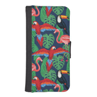 Tropical Birds In Bright Colors iPhone SE/5/5s Wallet Case