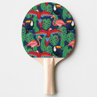 Tropical Birds In Bright Colors Ping Pong Paddle