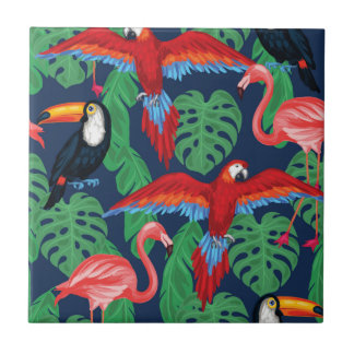Tropical Birds In Bright Colors Tile