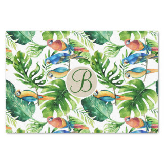 Tropical Birds Leaves Chic Monogram Letter Initial Tissue Paper