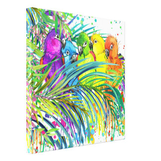 Tropical Birds of a Feather Canvas Art