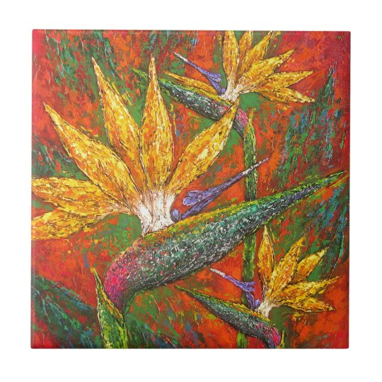 Tropical Birds Of Paradise Flowers Painting Art Tile
