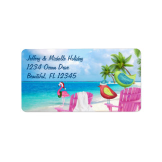 Tropical Birds, Palm Trees Christmas Beach Address Label