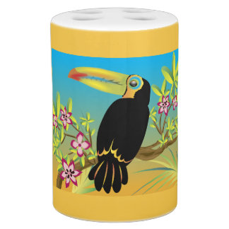 Tropical Birds Soap Dispenser And Toothbrush Holder