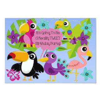Tropical Birds Tweet Birthday Invitation
