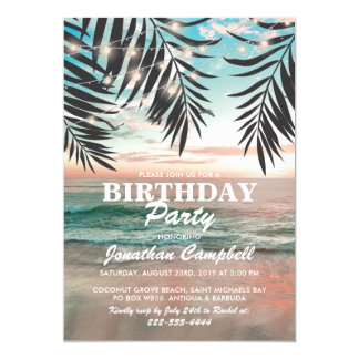 Tropical Birthday Beach Party | String of Lights Card