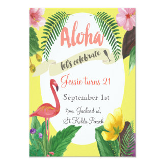 Tropical birthday invitation 5 x 7 inches