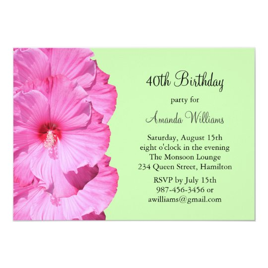 Tropical Birthday Invitation (green)