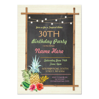 Tropical Birthday Party Luau Aloha Tiki Invitation
