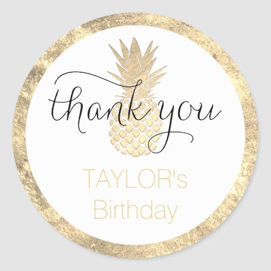 tropical birthday party thank you classic round sticker