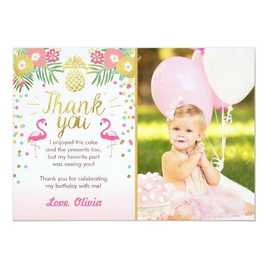 Tropical Birthday Thank You Card Luau Flamingo