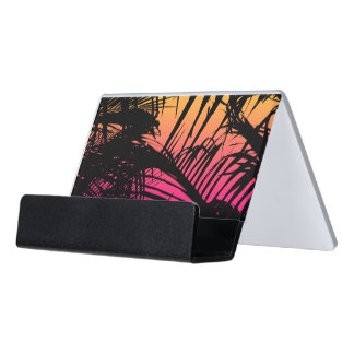 Tropical Black Palm Fronds on Pink, Orange, Yellow Desk Business Card Holder
