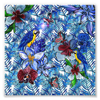 Tropical Blue Aloha Exotic Jungle & Parot Flowers Photo Print