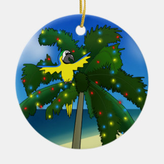 Tropical Blue and Gold Macaw Christmas Ornament