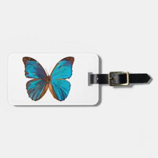 Tropical Blue and Turquoise Butterfly Art Luggage Tag