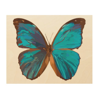 Tropical Blue and Turquoise Gem Butterfly Wood Wall Art