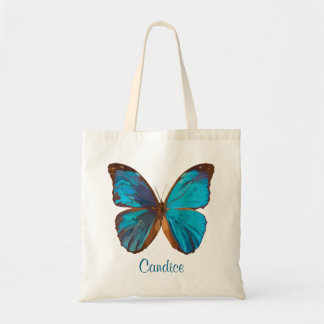 Tropical Blue and Turquoise Gem Colored Butterfly Budget Tote Bag