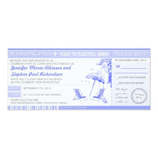 tropical blue boarding pass - wedding invitations