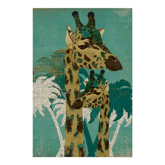 Tropical Blue Boho Giraffes Retro  Art Poster
