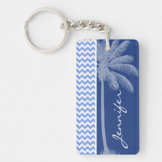 Tropical Blue Chevron Double-Sided Rectangular Acrylic Key Ring